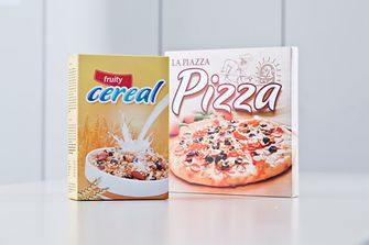 Food packaging cartons for pizza and cereals