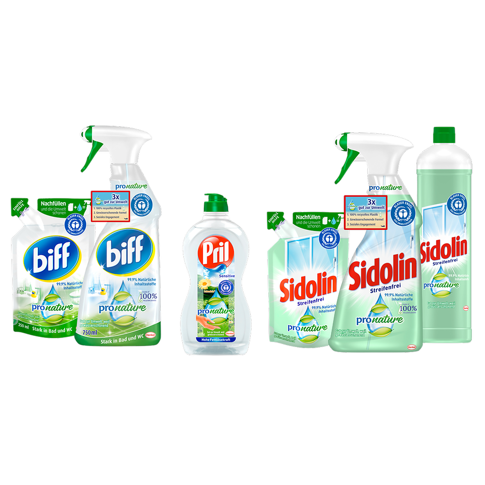 The PET bottles of the Pro Nature range from the brands biff, Sidolin and Pril consist of 100 percent recycled plastic